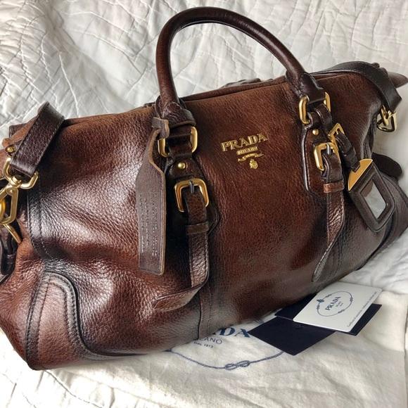 a6be5dcf0208 Prada Bags | Cacao Deerskin Leather Cervo Antik Handbag | Poshmark